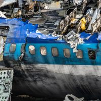 Remains of plane crash and aftermath of accident