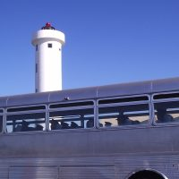 sideview of Greyhound bus