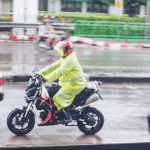 riding in the rain