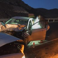 Two vehicles in a crash