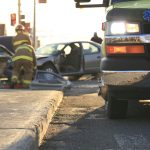 Ambulance arrives at one of the traffic fatalities