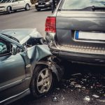 Car right bumper is smashed after crash