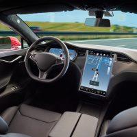 Self driving car on a road. Autonomous vehicle. Inside view.